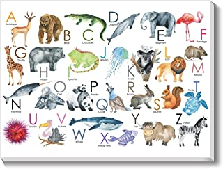 Texture of Dreams Kids Alphabet Letters with Pictures on Large Canvas Wall Art, Preschool Learning Educational Posters, Alphabet Zoo Animal ABC for Kids Toddlers, Baby Nursery Art Prints (16