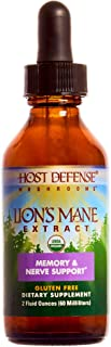 Host Defense, Lion's Mane Extract, Promotes Mental Clarity, Focus and Memory, Daily Mushroom Supplement, Vegan, Organic, Gluten Free, 2 fl oz (60 Servings)