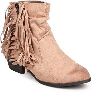 Women Suede Floral Zip Western Fringe Ankle Bootie DA54 - Taupe