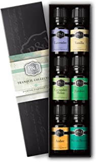 Tranquil Set of 6 Premium Grade Fragrance Oils - Vanilla, Cucumber Melon, Lavender, Amber, Bamboo, Ocean Breeze - 10ml