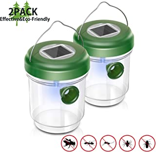 EOMOO Non-Toxic Wasp Trap, Reusable Solar Outdoor Fly Trap with Ultraviolet LED Light- Effective and Eco-Friendly, for Trapping Wasps, Hornets, Yellow Jackets, Bugs, Fly and More (2 Pack)