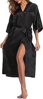 Womens Pure Color Long Satin Bathrobe Kimono Nightgown Long Dress Gown