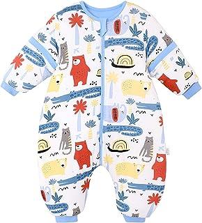 Bebé Saco de Dormir con Piernas Invierno Algodón Pijama Dividida Manga Cálido Mamelucos Dibujos Animados Mono Niños Niñas 2-4 años 3.5Tog Cocodrilo azul