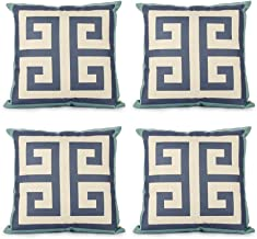 Top Finel Square Decorative Throw Pillow Cases Cotton Linen Outdoor Cushion Covers 18 X 18 for Sofa, Set of 4 - Maze