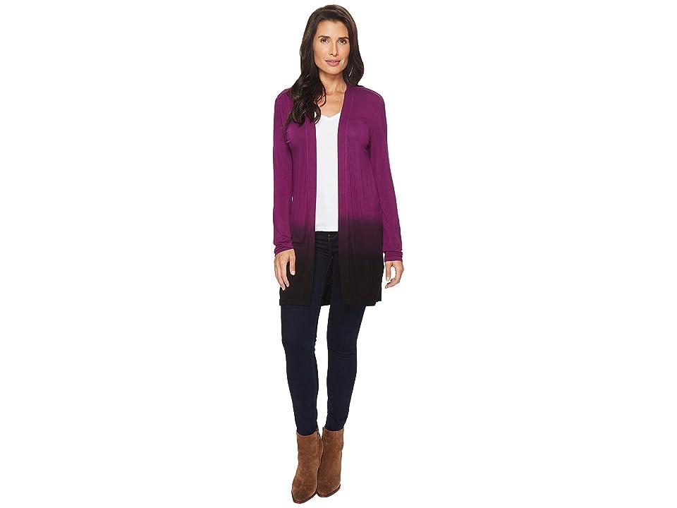 Mod-o-doc Rayon Spandex Jersey Dip-Dye Shirred Back Cardigan (Jam) Women