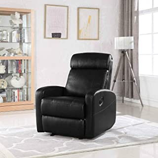 Single Faux Leather Recliner Lounge Chair – Modern Wide Armrest Lounger Chair, High Comfortable Back Seats for Living Room, Office or Home Theater Seating Recliners (Black)