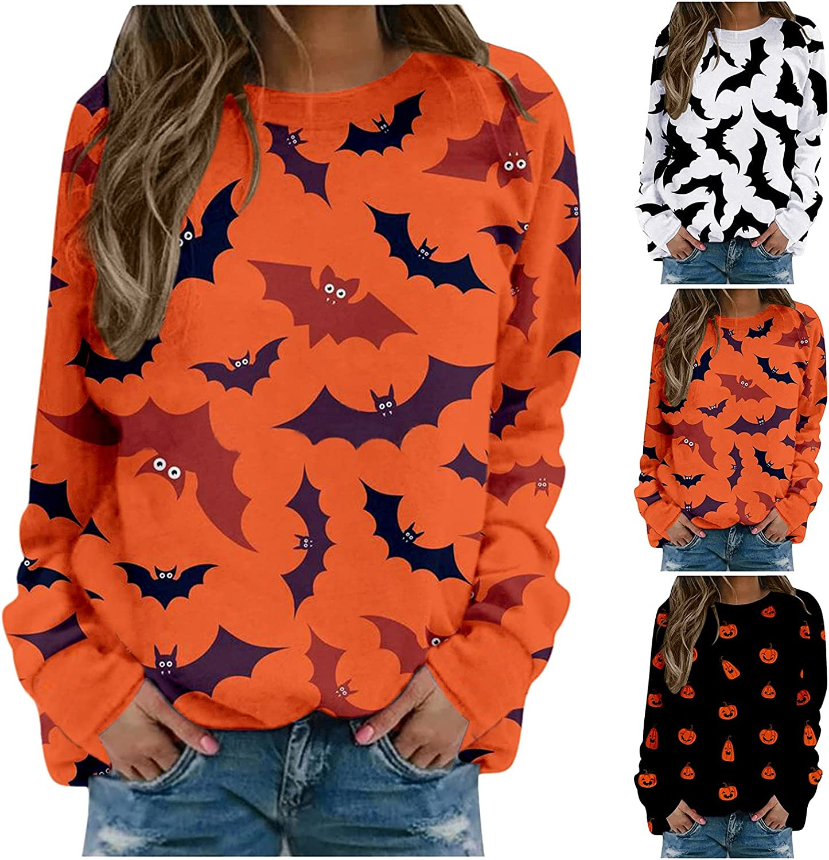 Womens Halloween Long Sleeve Pullover Funny Bat Print Tops Fashion Lightweight Drop Shoulder Sweatshirts Gifts