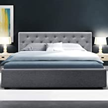 Queen Bed Frame, Artiss Gas Lift Fabric Timber Bed Base, Grey