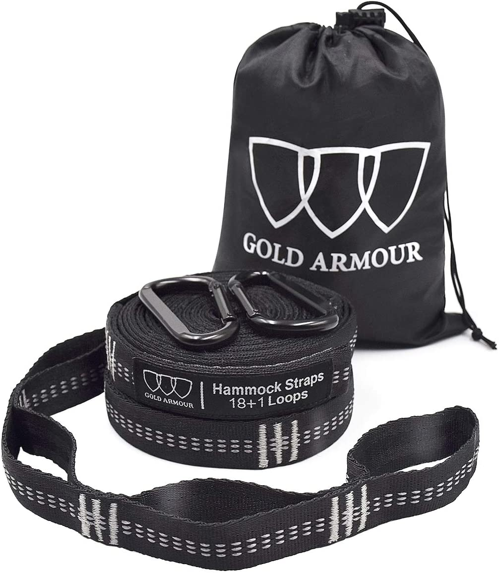 Gold Armour Hammock Straps XL, Camping Hammock Tree Straps Set (2 Straps, 2 Carabiners, Carrying Bag), 20 ft Long Combined, 36 Loops, Must Have Accessories & Gear (Black with Grey Stitching) : Patio, Lawn & Garden