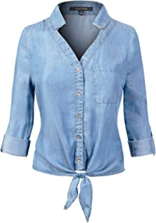Design by Olivia Women's Basic Classic Long/Roll Up Sleeve Button Down Chambray Denim Shirt Tunic (S-3XL) - Blue - Large