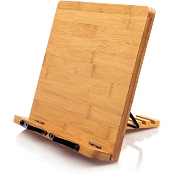 Bamboo Book Stand Cookbook Holder Desk Reading with 5 Adjustable Height, Foldable and Portable Kitchen Wooden Cooking Bookstands for Textbook, Recipe, Magazine, Laptop, Tablet by Pipishell