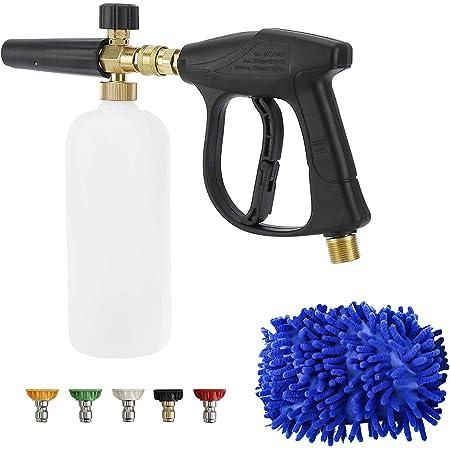 FreeTec Pistola de Lavado a Presión y Botella con 5 Boquillas y Guantes de Limpieza