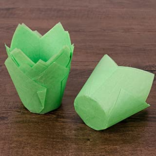 Voberry 50pcs Cupcake Wrappers Cases Tulip Chocolate Cupcake Baking Cake Decoration (Green)