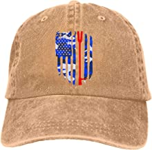 American Flag Firefighter Maltese Cross Halligan Hooligan Fire Axe Men Adjustable Washed Twill Low Profile Baseball Cap Dad Hat
