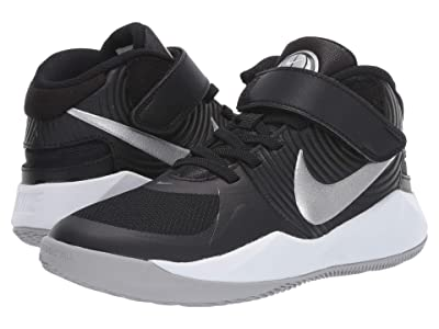 Nike Kids FlyEase Team Hustle D9 (Big Kid) (Black/Metallic Silver/Wolf Grey) Kids Shoes