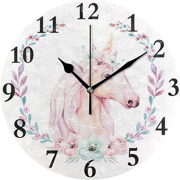 NMCEO 圆形挂钟隔离可爱水彩独角兽亚克力原创时钟家居装饰创意