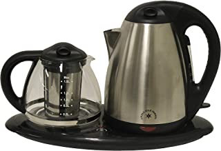 Sapphire Home 3 Piece Electric Coffee Tea Maker, 360 Degree 1.7L Cordless Kettle + 1.2 Clear Glass Pot + Keep Warm Plate, On/Off Switch, Stainless Steel Filter Basket, Stainless Steel/Black