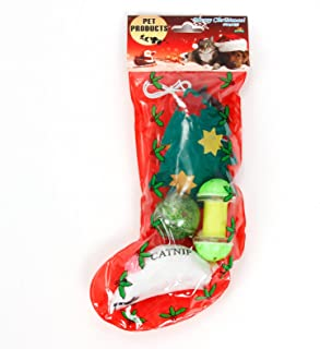 PAWZ Road Cat Christmas Stocking Gift Set 6 Toys 1 Package Sock Shape Cat Teaser Presents