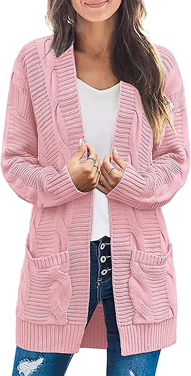 Open Front Knit Cardigan Coat for Women Solid Color Oversize Long Sleeve Casual Loose Sweaters Tops with Pockets