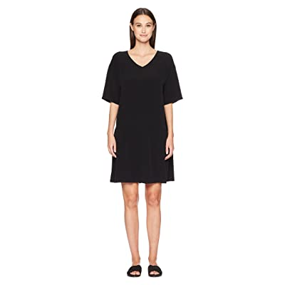 Eileen Fisher V-Neck Short Dress (Black) Women