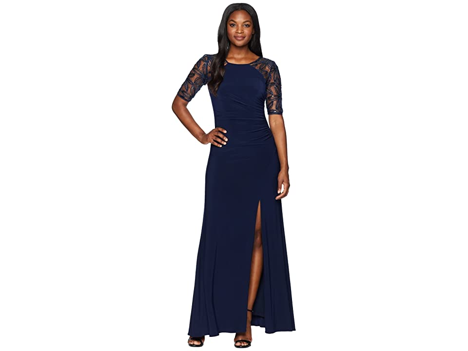 Adrianna Papell Long Crepe Gown with Beaded Embroidered Sleeves (Midnight) Women