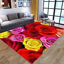 LHGBGBLN 3D Printing Carpet Yellow Pink red Rose Bedroom Living Room Non-Slip mat Corridor Floor mat Door mat Flower Carpe...