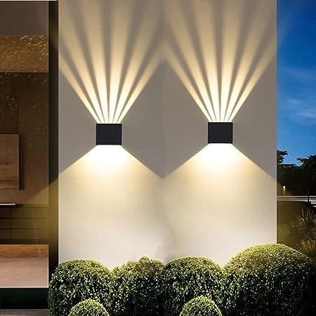 Hctaw Applique Murale Interieur,2 Pcs Led Lampe Murale Moderne,Applique Murale En Aluminium 3000K Blanc Chaud,Anti-Eau IP65 Applique Murale Exterieur pour Chambre Maison Couloir Salon