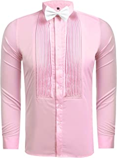 1afd9270a39e Hasuit Men's Tuxedo Dress Shirts with French Cuffs and Bow Tie 5 Colors