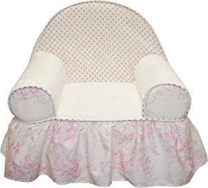 100% Cotton Soft Pink Floral & Polka Dot Baby/Toddler Foam Chair with Ruffle, Heaven Sent Girl by Cotton Tale Designs