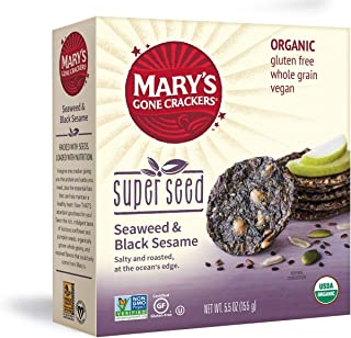 Mary's Gone Crackers Super Seed Crackers, Organic Plant Based Protein, Gluten Free, Seaweed & Black Sesame, 5.5 Ounce (Pack of 1)