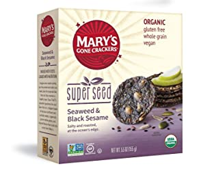 Mary's Gone Crackers Super Seed Crackers, Organic Plant Based Protein, Gluten Free, Seaweed & Black
