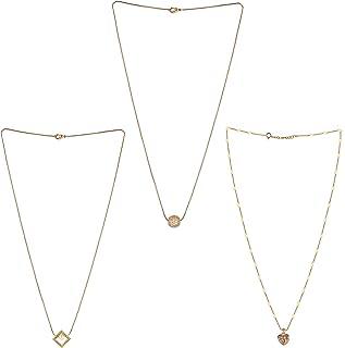 Brado Jewellery Gold Plated Yellow Brass, Cubic Zirconia White American Diamond Square and One Love Heart Shape Pendant wi...