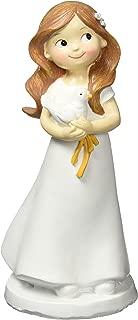 Mopec Figura de Pastel para Comunión de Niña y Paloma, Poliresina, 7.8x7.8x16 cm