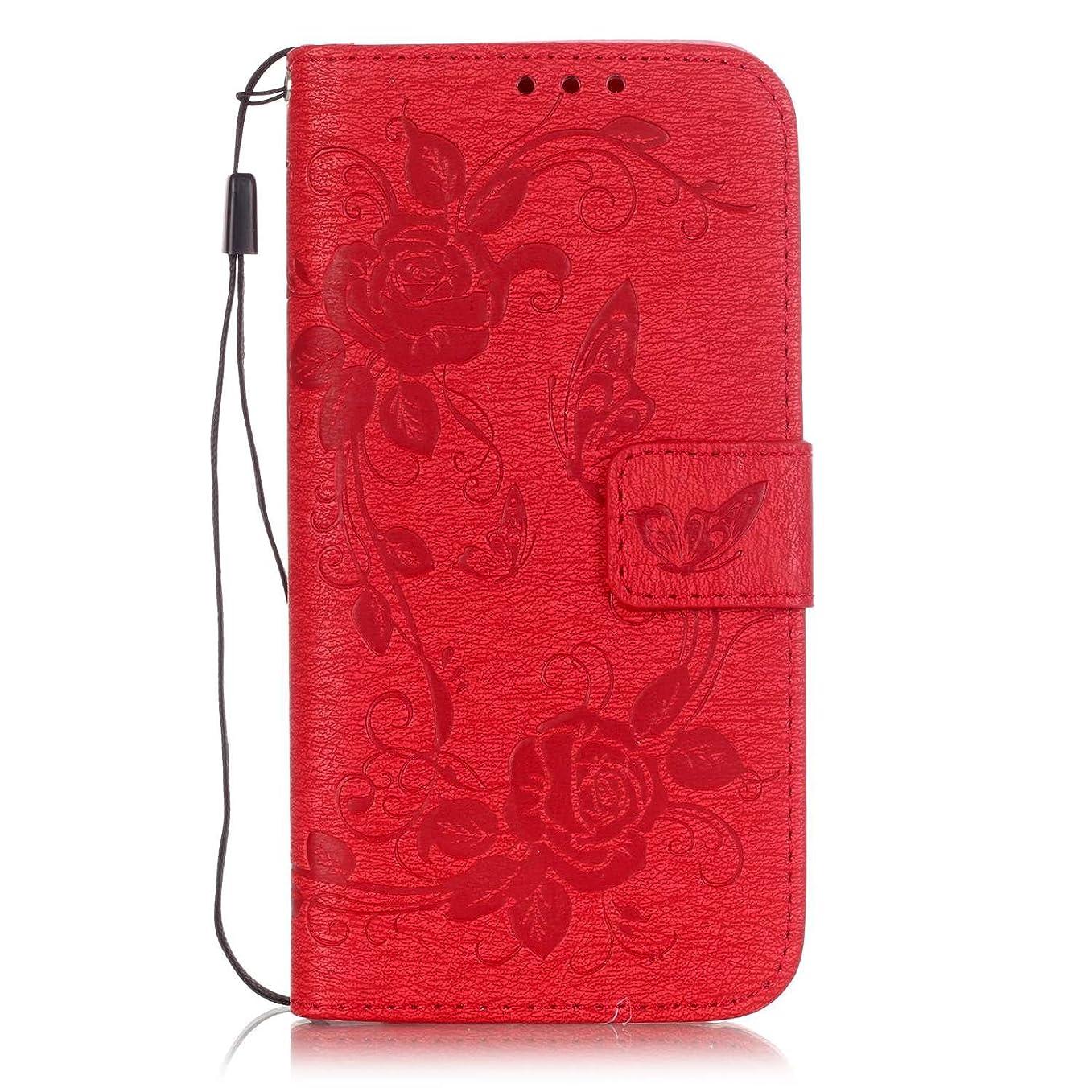 首制限されたパンチiPhone 8ケース 高級PU 手帳型 型押し 蝶柄 全面保護 耐汚れ スマートフォンケース(赤)