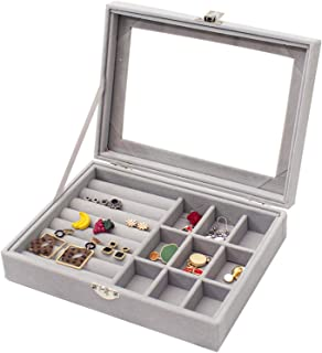 Huryfox Jewelry Box for Girls, Jewelry Boxes & Organizers, Jewelry Storage Case Display Case with Lock for Earrings Ring N...