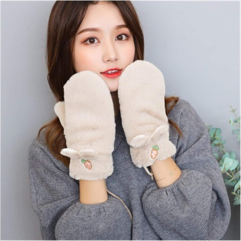 JBIVWW Woman Winter Warm Gloves Plus Velvet Thicken Full Finger Carrot Embroidery Plush Gloves Driving Gloves (Color : A Beige)