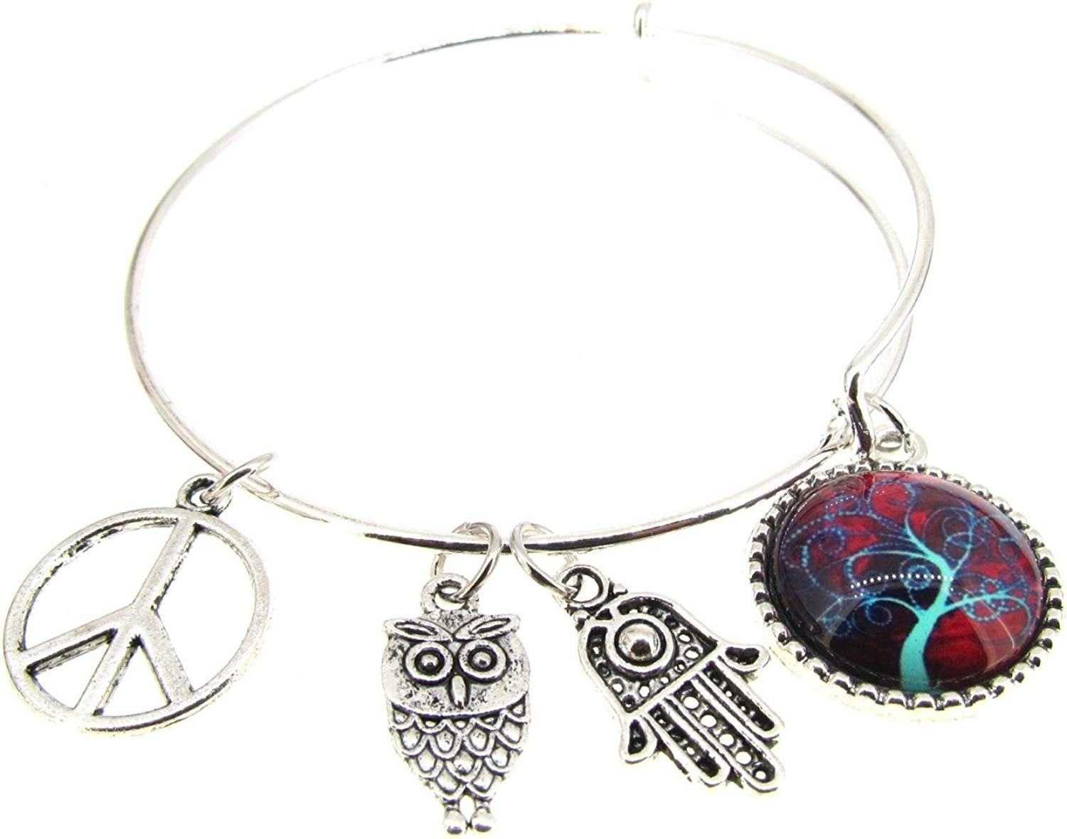 Tree of Life Bracelet Silver Bangle Hamsa Expandable Plate 25% OFF It is very popular Peace