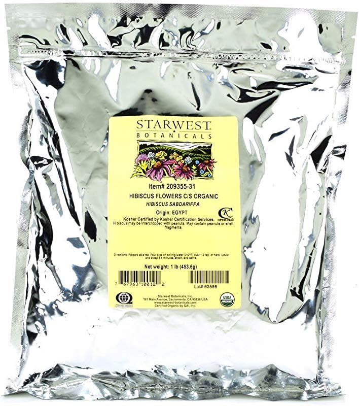 Starwest Botanicals Organic Egyptian Hibiscus Flowers Tea Loose Cut And Sifted 1 Pound Bulk