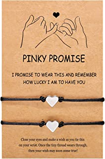UNGENT THEM Pinky Promise Distance Matching BFF Bracelets for 2 Women Mom Daughter Best Friend Teens Boy Girls Couple