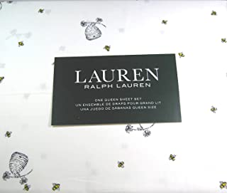 Lauren 4 Piece Queen Size Sheet Set Bumblebees,Flowers and Hives 100% Cotton