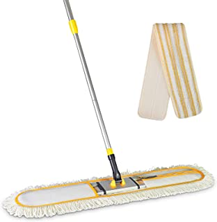 Yocada Commercial Industrial Cotton Mop Dust Floor Mop 59 Inch Telescopic Handle with 1 Microfiber Polyester 1 Microfiber ...