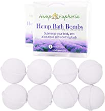 Hemp Bath Bombs Rich in Organic Hemp Seed Oil, Lavender Oil, and Shea Butter - All Natural - 8 Count