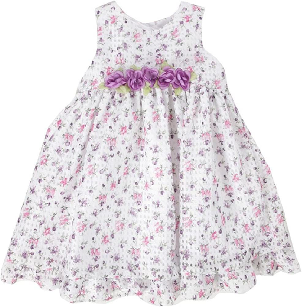 Laura Ashley Girls Floral Printed Pointelle Lace Flower Dress - 6 Pink/Purple