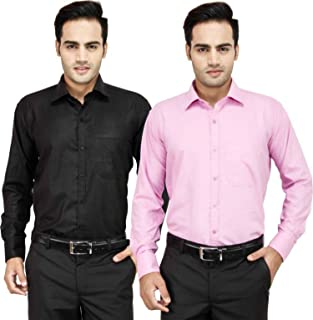Super Weston Plain Black and Pink Casual Shirts For Men's For Summers