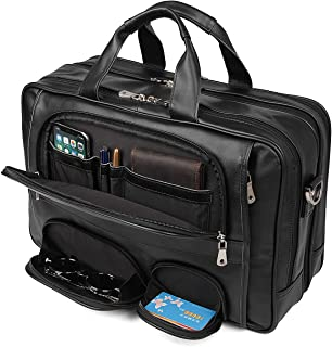 YOGCI Leather Briefcase for Men,Laptop Messenger Bag for Business Travel, Fits 14 15.6 Inch Computer (Black)