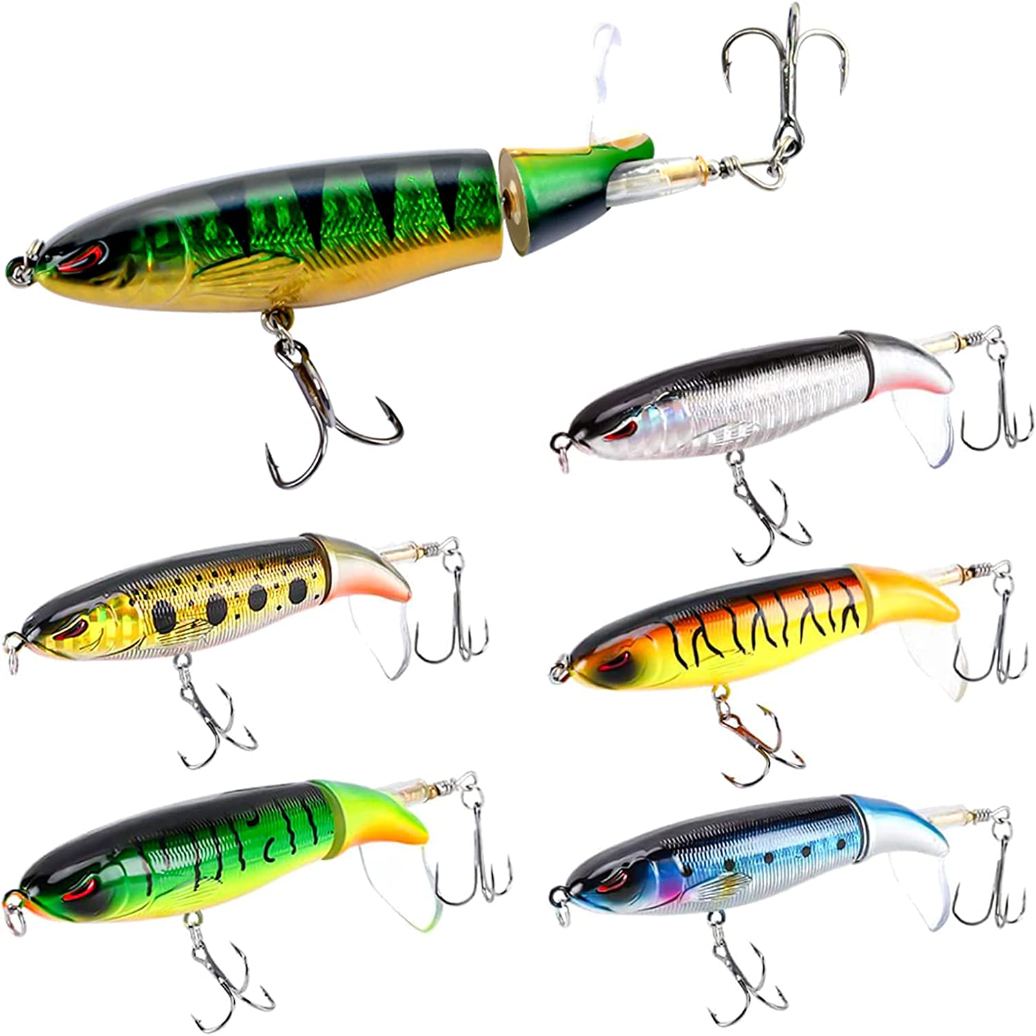 Whopper Plopper Fishing Lure for Bass Topwater w Free shipping anywhere in Max 67% OFF the nation Lures 6PCS