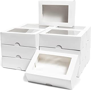Cake Box with Display Window, Pastry Bakery Box (8 x 2.5 x 5.75 In, 15 Pack)