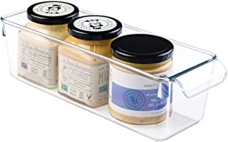 iDesign boîte de rangement à poignée, petit bac plastique pour le placard, le frigo ou le tiroir, bac alimentaire sans cou...