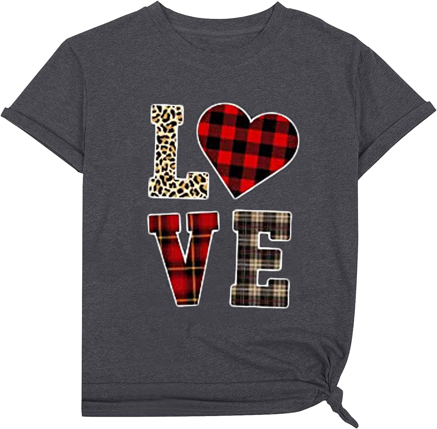AODONG Valentine's Day Shirts for Women,Womens Love Heart Letter Printed T Shitrs Short Sleeve Cute Shirt Tops Blouses