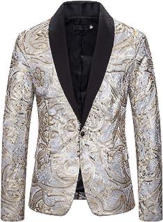 WHATLEES Men Stylish Blazer Shiny Sequins Suit Jacket Partyclub